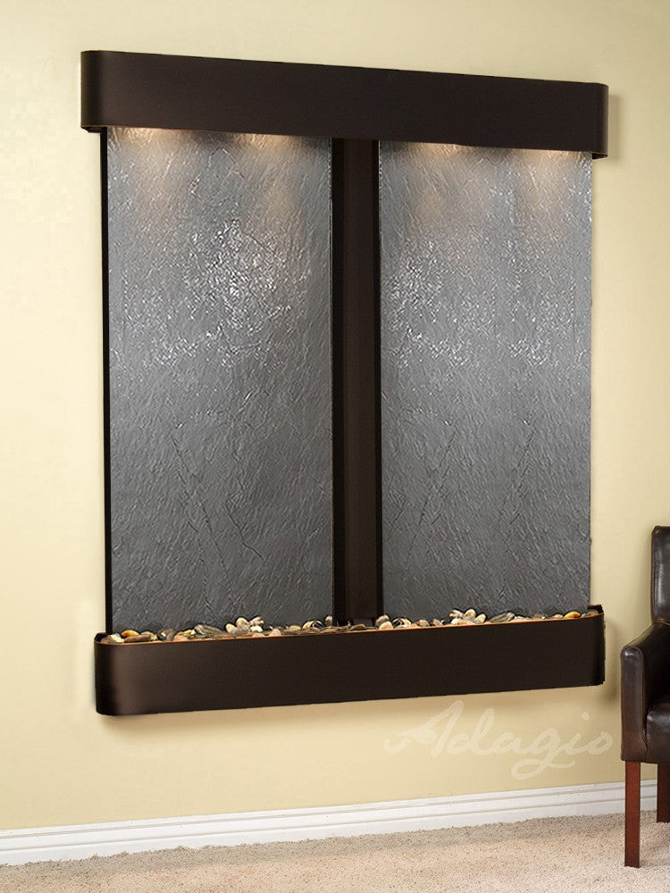 Wall Fountain - Cottonwood Falls - Black FeatherStone - Blackened Copper - Rounded - CFR1511