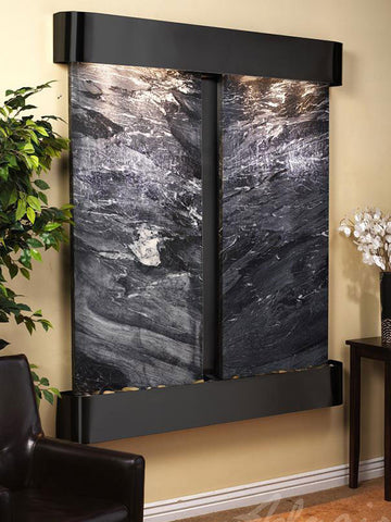 Wall Fountain - Cottonwood Falls - Black Spider Marble - Blackened Copper - Rounded - cfr1507__69047
