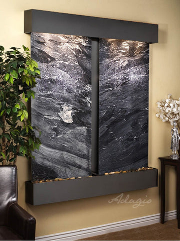 Wall Fountain - Cottonwood Falls - Black Spider Marble - Blackened Copper - Squared - cfs1507