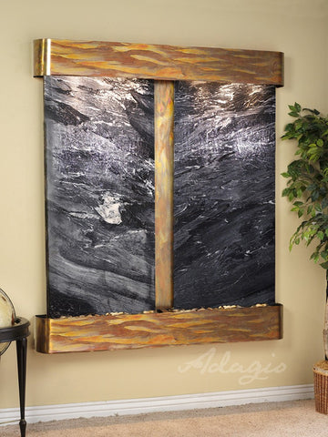 Wall Fountain - Cottonwood Falls - Black Spider Marble - Rustic Copper - Rounded - cfr1007