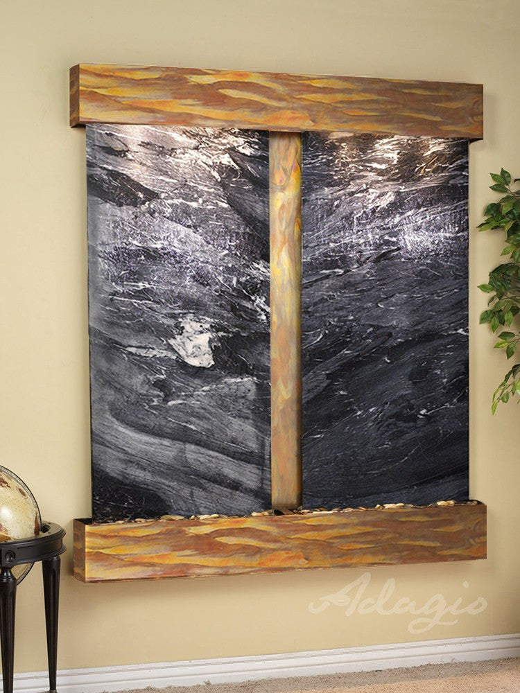 Wall Fountain - Cottonwood Falls - Black Spider Marble - Rustic Copper - Squared - CFS1007