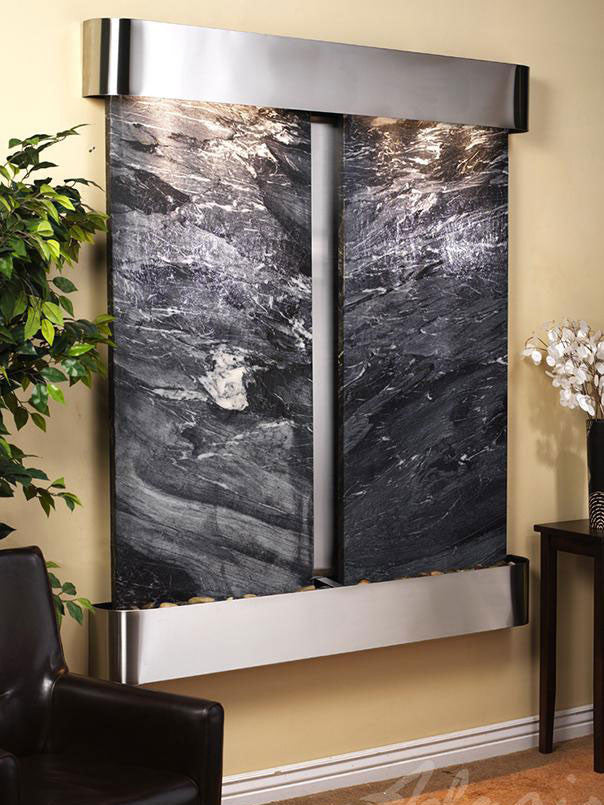 Wall Fountain - Cottonwood Falls - Black Spider Marble - Stainless Steel - Rounded - cfr2007__15718