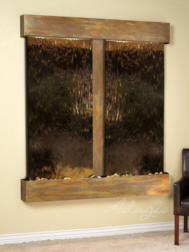 Wall Fountain - Cottonwood Falls - Bronze Mirror - Rustic Copper - Squared - cfs1041
