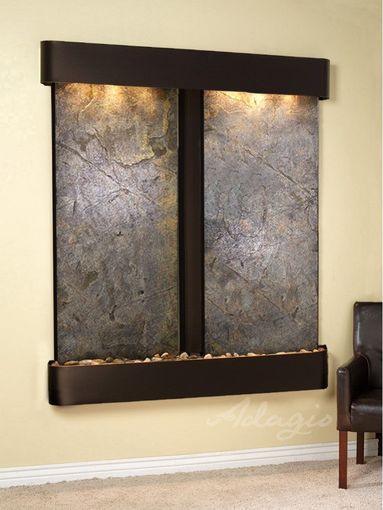 Wall Fountain - Cottonwood Falls - Green FeatherStone - Blackened Copper - Rounded - cfr1512