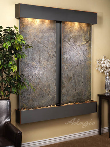 Wall Fountain - Cottonwood Falls - Green FeatherStone - Blackened Copper - Squared - cfs1512