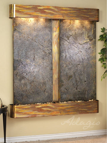 Wall Fountain - Cottonwood Falls - Green FeatherStone - Rustic Copper - Rounded - cfr1012