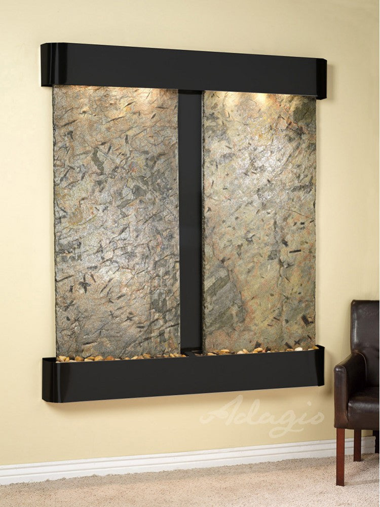 Wall Fountain - Cottonwood Falls - Green Slate - Blackened Copper - Rounded - cfr1502_1
