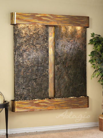 Wall Fountain - Cottonwood Falls - Green Slate - Rustic Copper - Rounded - cfr1002