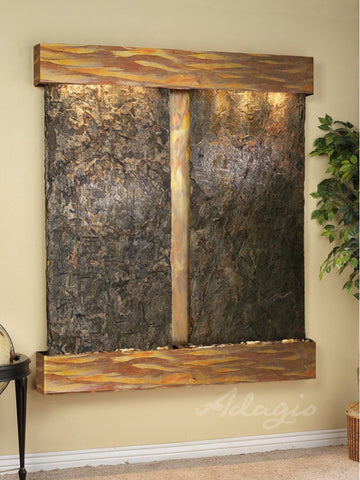 Wall Fountain - Cottonwood Falls - Green Slate - Rustic Copper - Squared - CFS1002