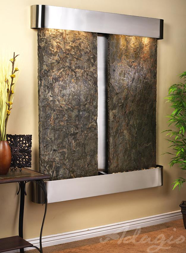Wall Fountain - Cottonwood Falls - Green Slate - Stainless Steel - Rounded - cfr2002__49405