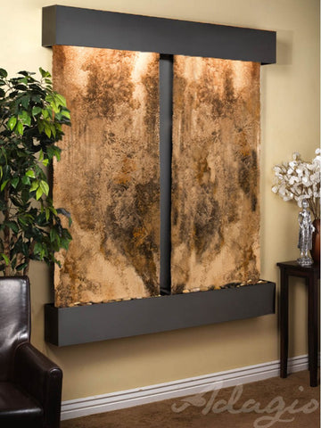Wall Fountain - Cottonwood Falls - Magnifico Travertine - Blackened Copper - Squared - cfs1508