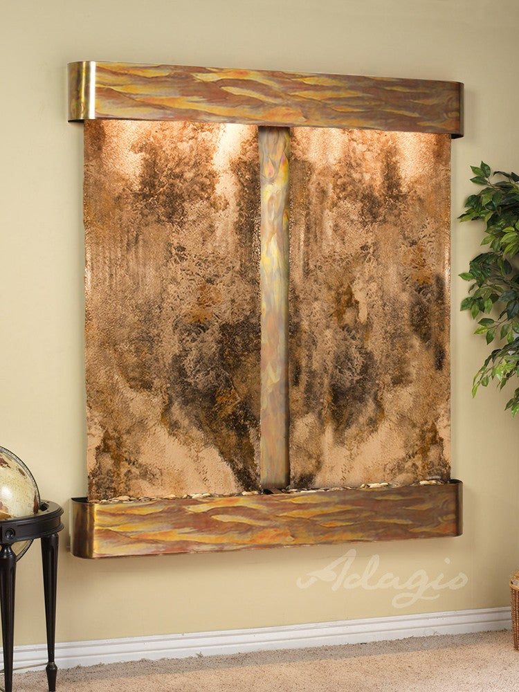 Wall Fountain - Cottonwood Falls - Magnifico Travertine - Rustic Copper - Rounded - cfr1008