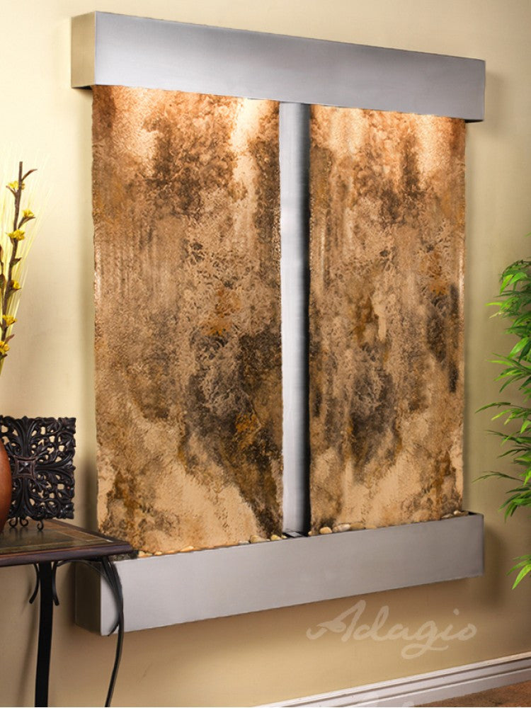Wall Fountain - Cottonwood Falls - Magnifico Travertine - Stainless Steel - Squared - cfs2008