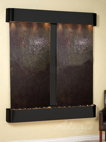 Wall Fountain - Cottonwood Falls - Multi-Color FeatherStone - Blackened Copper - Rounded - cfr1514__01805