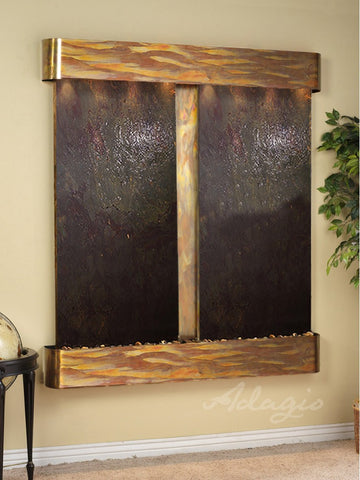 Wall Fountain - Cottonwood Falls - Multi-Color FeatherStone - Rustic Copper - Rounded - cfr1014