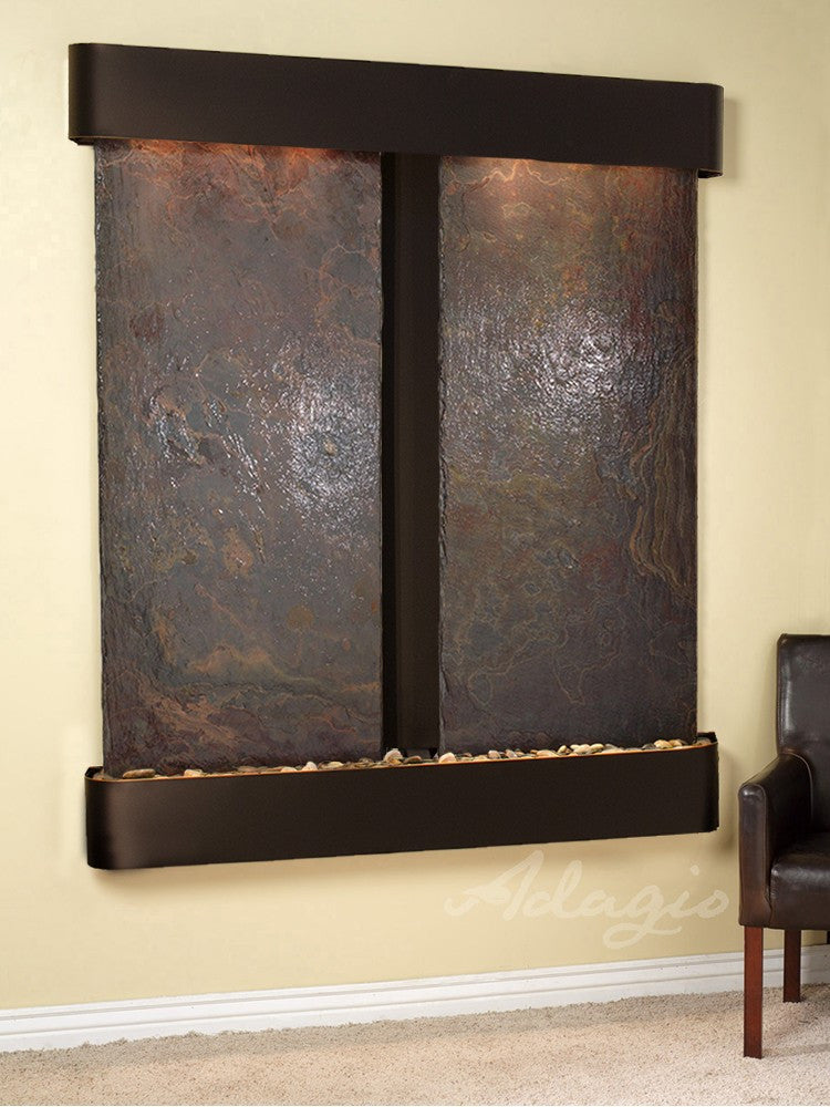 Wall Fountain - Cottonwood Falls - Multi-Color Slate - Blackened Copper - Rounded - CFR1504