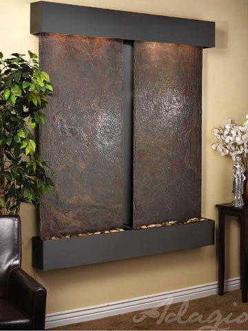 Wall Fountain - Cottonwood Falls - Multi-Color Slate - Blackened Copper - Squared - CFS1504
