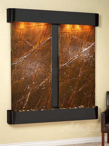 Wall Fountain - Cottonwood Falls - Rainforest Brown Marble - Blackened Copper - Rounded - cfr1506__20116