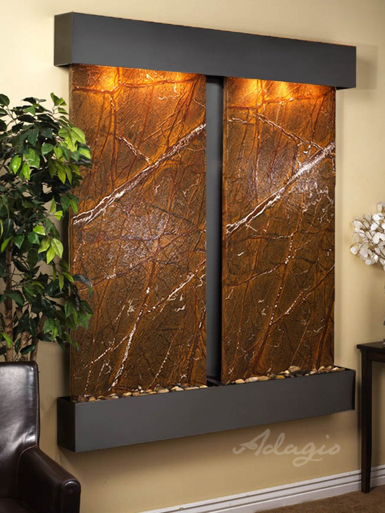 Wall Fountain - Cottonwood Falls - Rainforest Brown Marble - Blackened Copper - Squared - cfs1506