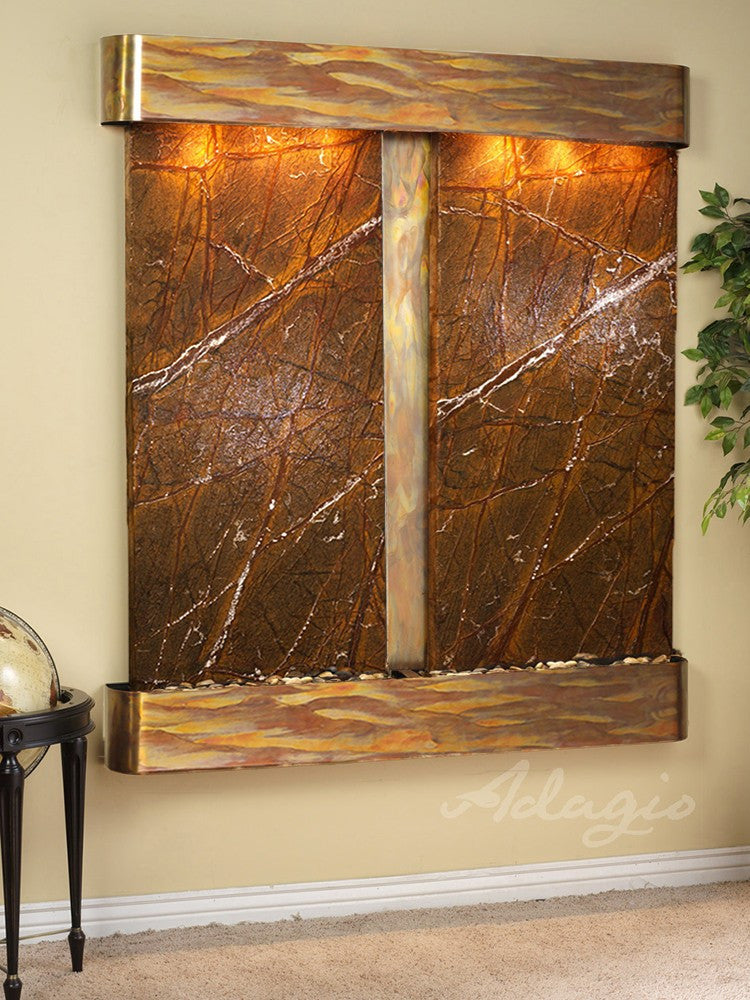 Wall Fountain - Cottonwood Falls - Rainforest Brown Marble - Rustic Copper - Rounded - cfr1006