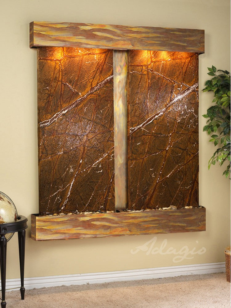 Wall Fountain - Cottonwood Falls - Rainforest Brown Marble - Rustic Copper - Squared - CFS1006