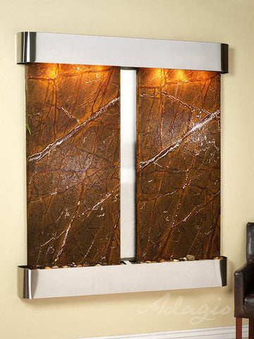 Wall Fountain - Cottonwood Falls - Rainforest Brown Marble - Stainless Steel - Rounded - cfr2006__83624