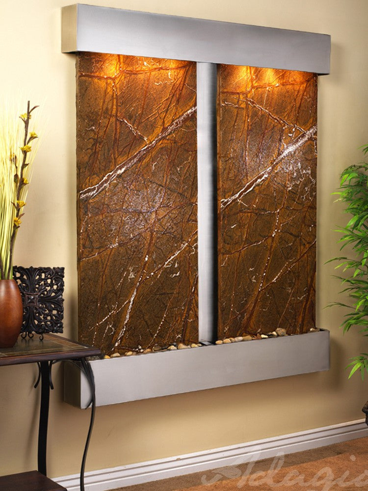 Wall Fountain - Cottonwood Falls - Rainforest Brown Marble - Stainless Steel - Squared - CFS2006