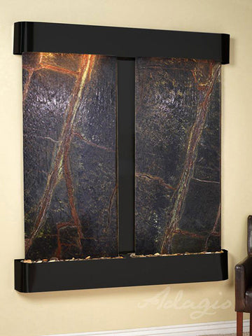 Wall Fountain - Cottonwood Falls - Rainforest Green Marble - Blackened Copper - Rounded - cfr1505__54139