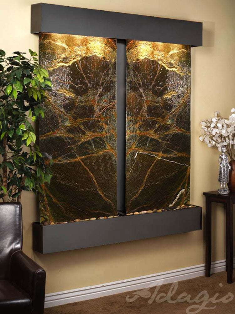 Wall Fountain - Cottonwood Falls - Rainforest Green Marble - Blackened Copper - Squared - cfs1505