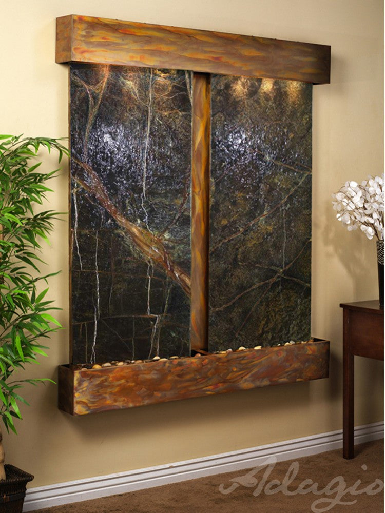 Wall Fountain - Cottonwood Falls - Rainforest Green Marble - Rustic Copper - Squared - cfs1005_1