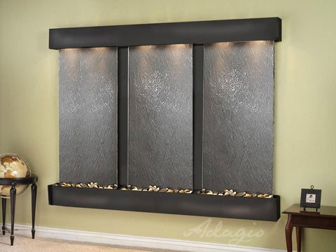 Wall Fountain - Deep Creek - Black FeatherStone - Blackened Copper - Squared - DCFS1511