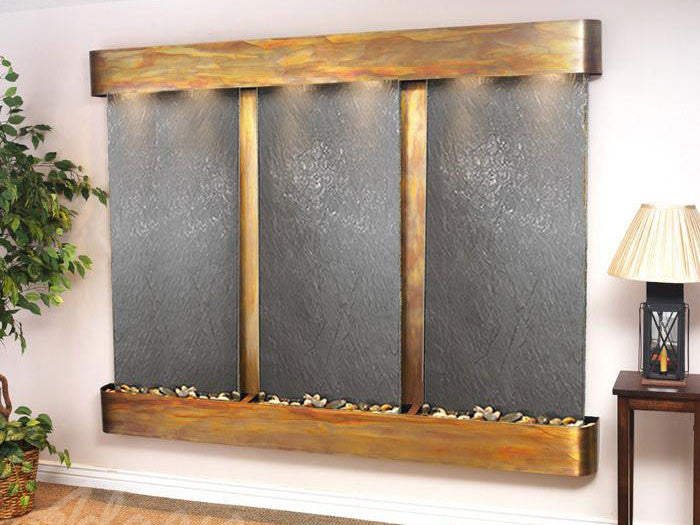 Wall Fountain - Deep Creek - Black FeatherStone - Rustic Copper - Rounded - dcfr1011__58416