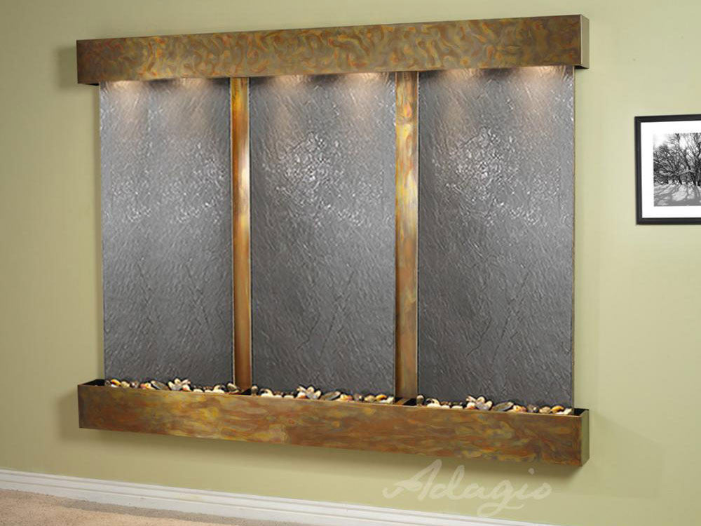 Wall Fountain - Deep Creek - Black FeatherStone - Rustic Copper - Squared - DCFS1011