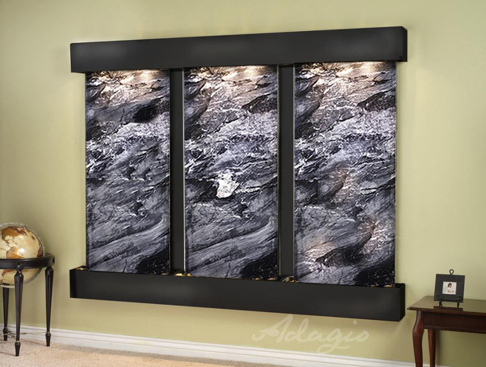 Wall Fountain - Deep Creek - Black Spider Marble - Blackened Copper - Squared - DCFS1507