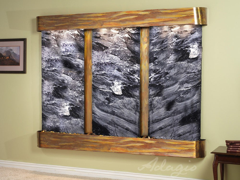 Wall Fountain - Deep Creek - Black Spider Marble - Rustic Copper - Rounded - dcr1007_1