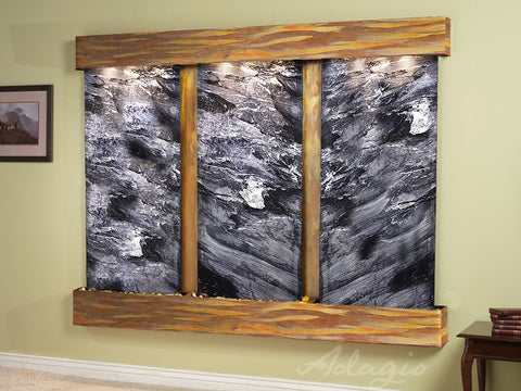 Wall Fountain - Deep Creek - Black Spider Marble - Rustic Copper - Squared - dcs1007_1