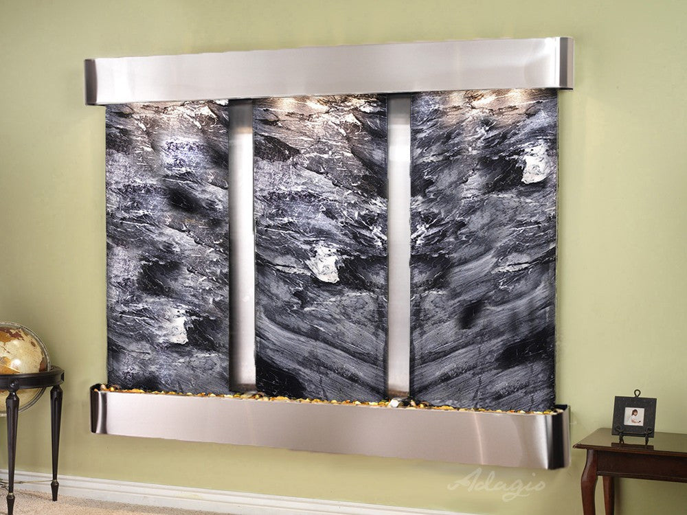 Wall Fountain - Deep Creek - Black Spider Marble - Stainless Steel - Rounded - dcr2007_1
