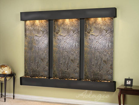 Wall Fountain - Deep Creek - Green FeatherStone - Blackened Copper - Squared - DCFS1512