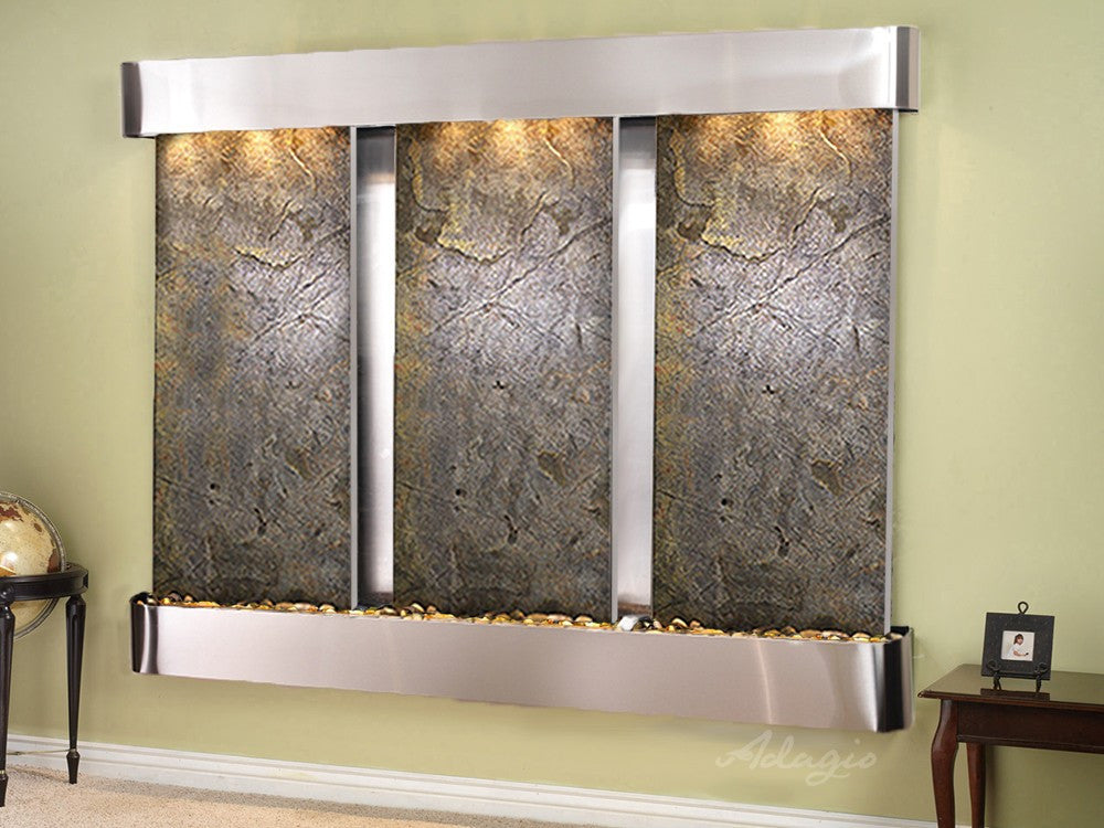 Wall Fountain - Deep Creek - Green FeatherStone - Stainless Steel - Rounded - dcr2012_1