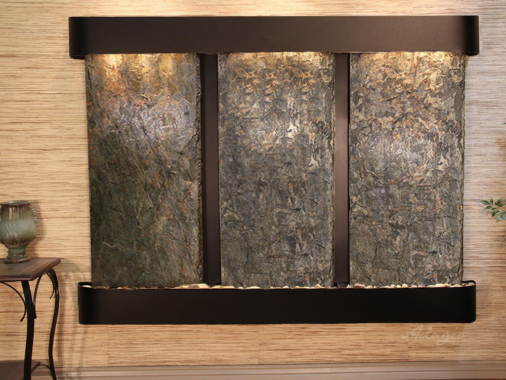 Wall Fountain - Deep Creek - Green Slate - Blackened Copper - Rounded -dcr1502_1