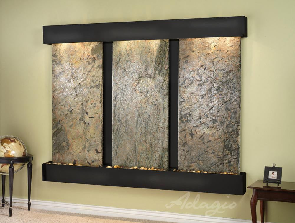 Wall Fountain - Deep Creek - Green Slate - Blackened Copper - Squared - DCFS1502