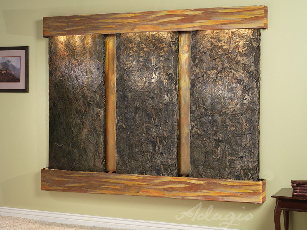 Wall Fountain - Deep Creek - Green Slate - Rustic Copper - Squared - dcs1002_1
