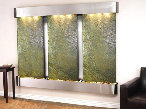 Wall Fountain - Deep Creek - Green Slate - Stainless Steel - Rounded - dcfr2002__84388