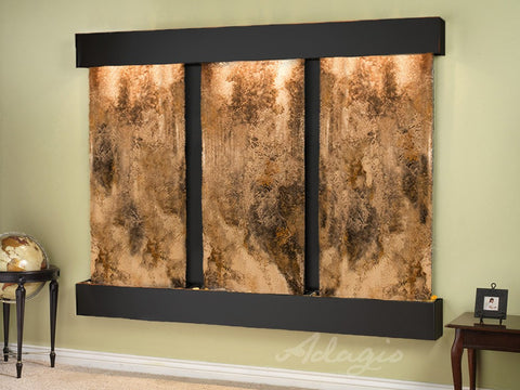 Wall Fountain - Deep Creek - Magnifico Travertine - Blackened Copper - Squared - dcs1508_1