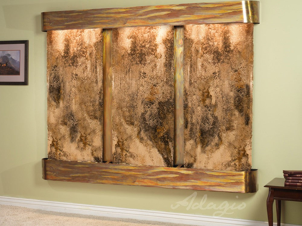 Wall Fountain - Deep Creek - Magnifico Travertine - Rustic Copper - Rounded - dcr1008_1