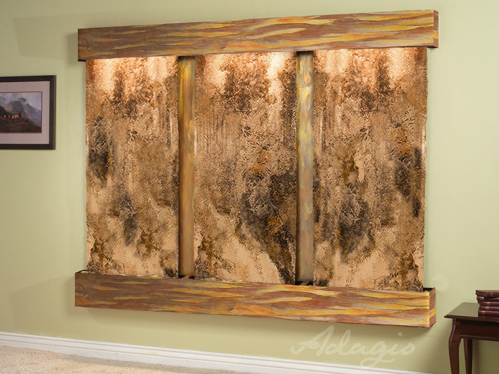Wall Fountain - Deep Creek - Magnifico Travertine - Rustic Copper - Squared - dcs1008_1