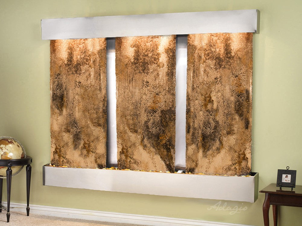 Wall Fountain - Deep Creek - Magnifico Travertine - Stainless Steel - Squared - dcs2008_1