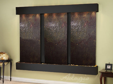 Wall Fountain - Deep Creek - Multi-Color FeatherStone - Blackened Copper - Squared - dcs1514_1