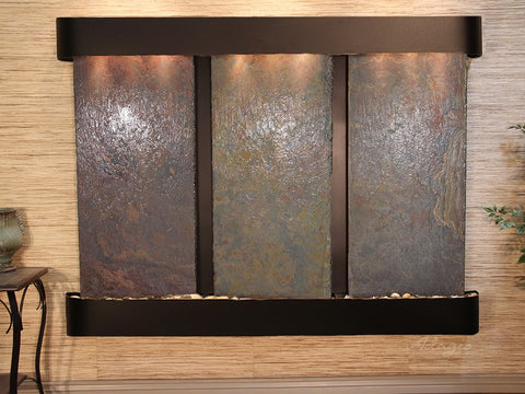 Wall Fountain - Deep Creek - Multi-Color Slate - Blackened Copper - Rounded - dcr1504_1