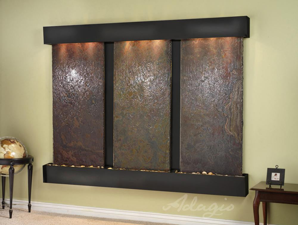 Wall Fountain - Deep Creek - Multi-Color Slate - Blackened Copper - Squared -DCFS1504
